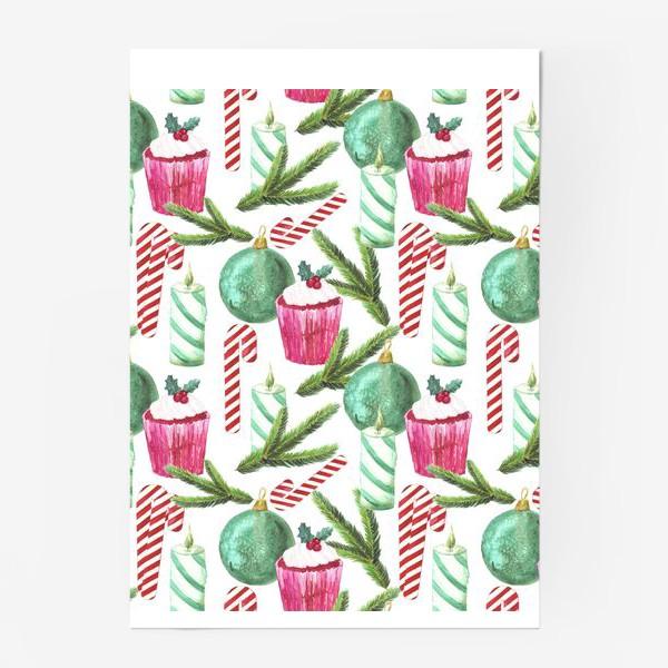 Постер «Новый год. Зима. Панкейк. Свеча. Еловая ветвь. Стеклянный шар. Сахарная трость. Паттерн»