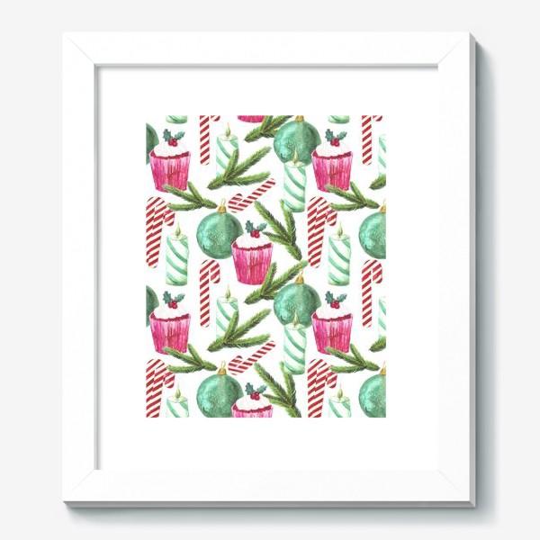Картина «Новый год. Зима. Панкейк. Свеча. Еловая ветвь. Стеклянный шар. Сахарная трость. Паттерн»