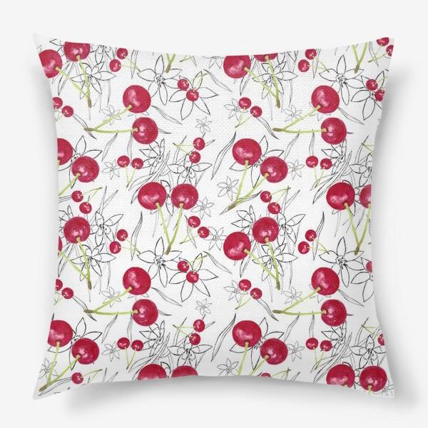 Подушка «Яркая вишня на узорном фоне»