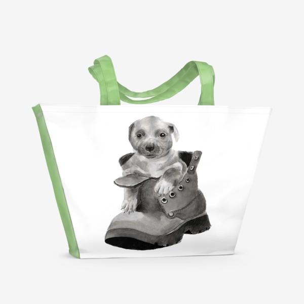 Пляжная сумка «щенок  в ботинке»