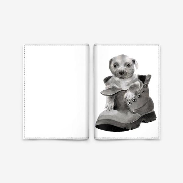 Обложка для паспорта «щенок  в ботинке»