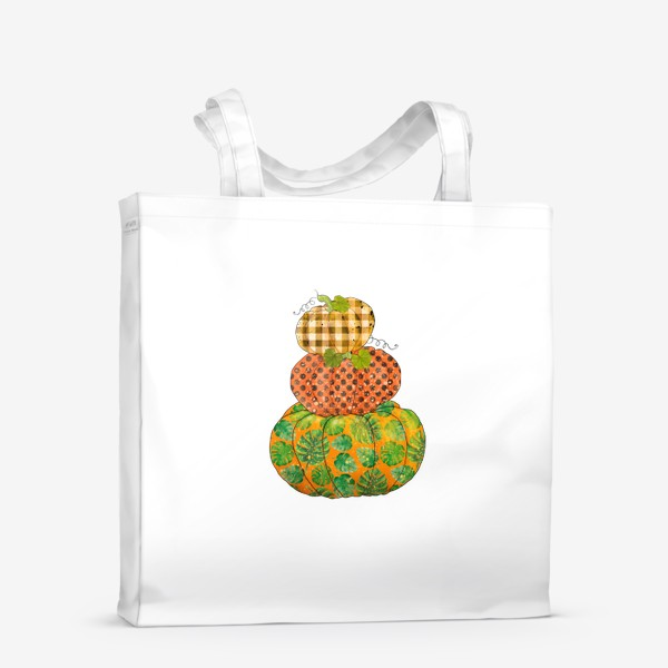 Сумка-шоппер «Три тыквы в узорах:тропический, горошек, клетка»