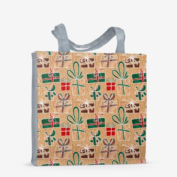 Сумка-шоппер «Коробки с подарками, нарисованные на крафт-бумаге - бесшовный паттерн»