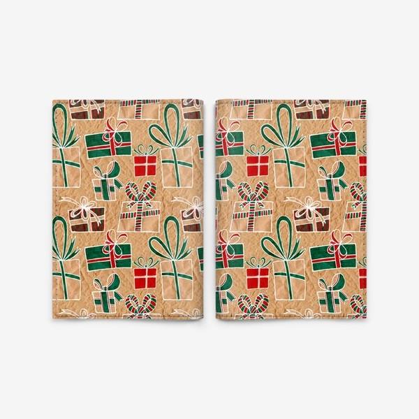 Обложка для паспорта «Коробки с подарками, нарисованные на крафт-бумаге - бесшовный паттерн»