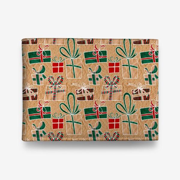 Кошелек «Коробки с подарками, нарисованные на крафт-бумаге - бесшовный паттерн»