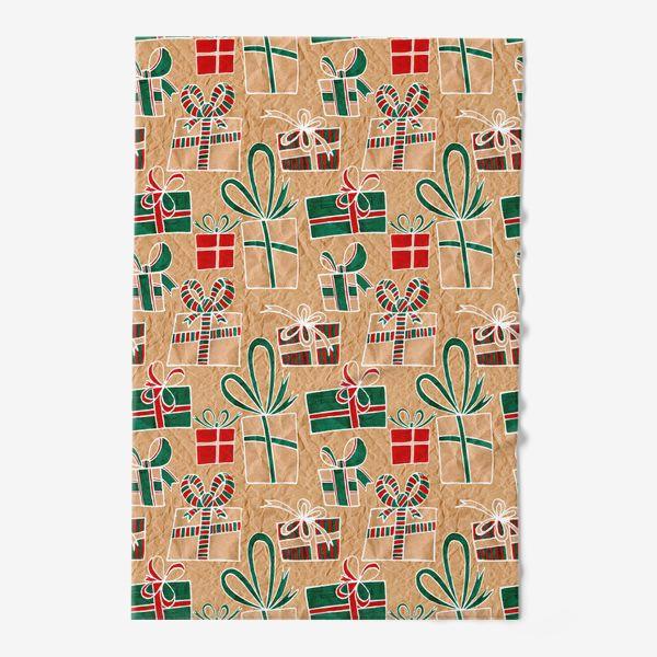 Полотенце «Коробки с подарками, нарисованные на крафт-бумаге - бесшовный паттерн»