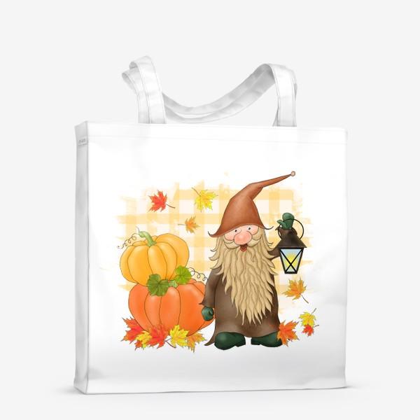 Сумка-шоппер «Осенний гном с тыквами»