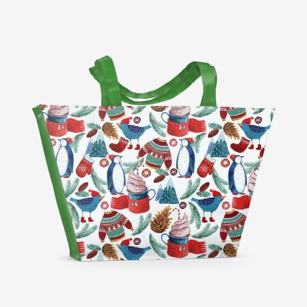 Пляжная сумка «Пингвины, птички, кружки, шишки, елки, свитеры, горы. Зима, Новый год!»