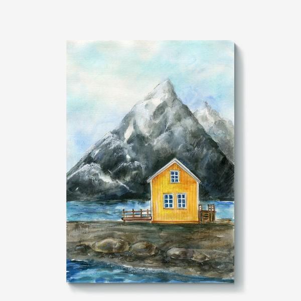 Холст «Скандинавский стиль. Жёлтый домик в горах»