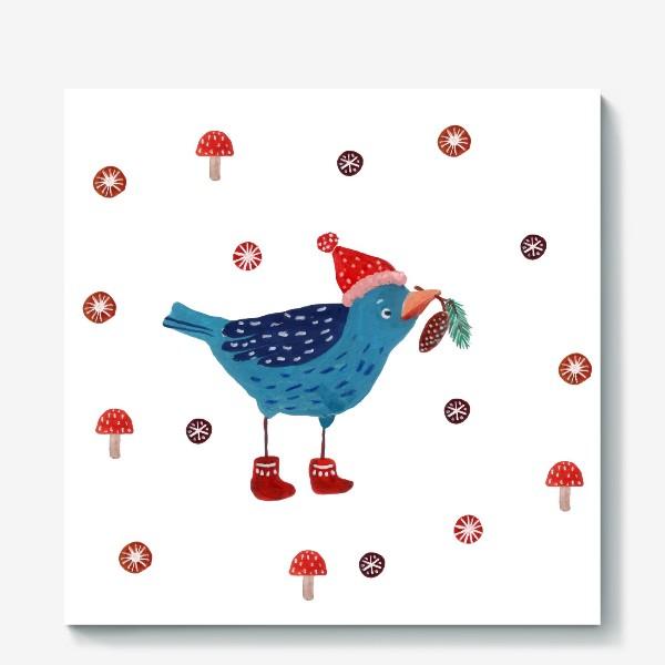 Холст «Птичка в шапке с еловой веткой и шишкой»