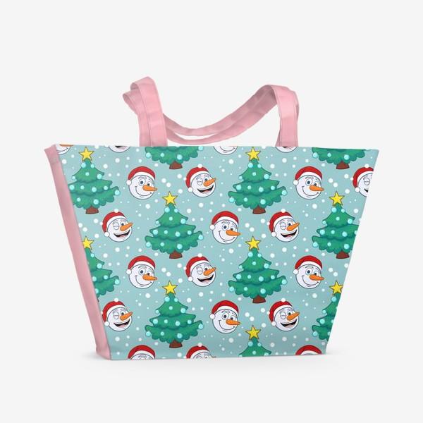 Пляжная сумка «узор со снеговиками и новогодними елками»
