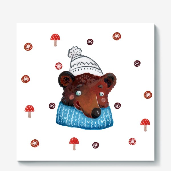 Холст «Медведь в шапке. Зима. Новый год!»