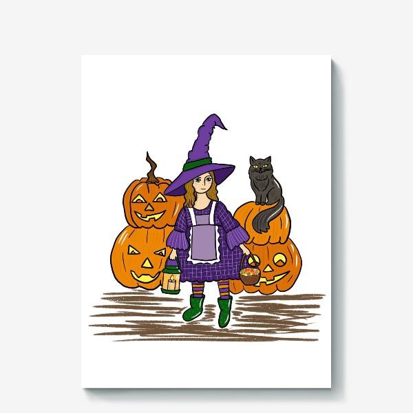 Холст «ведьмочка и тыквы»