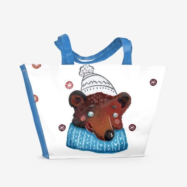 Пляжная сумка «Медведь в шапке. Зима. Новый год!»