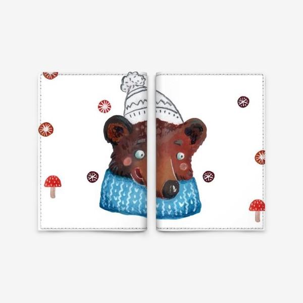 Обложка для паспорта «Медведь в шапке. Зима. Новый год!»