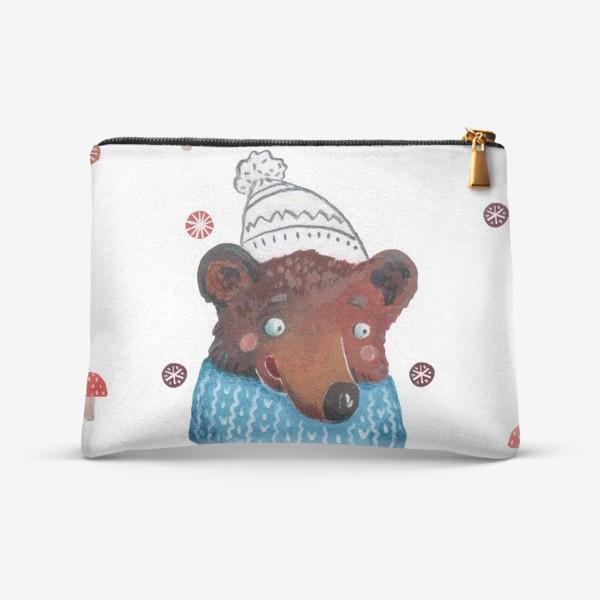 Косметичка «Медведь в шапке. Зима. Новый год!»
