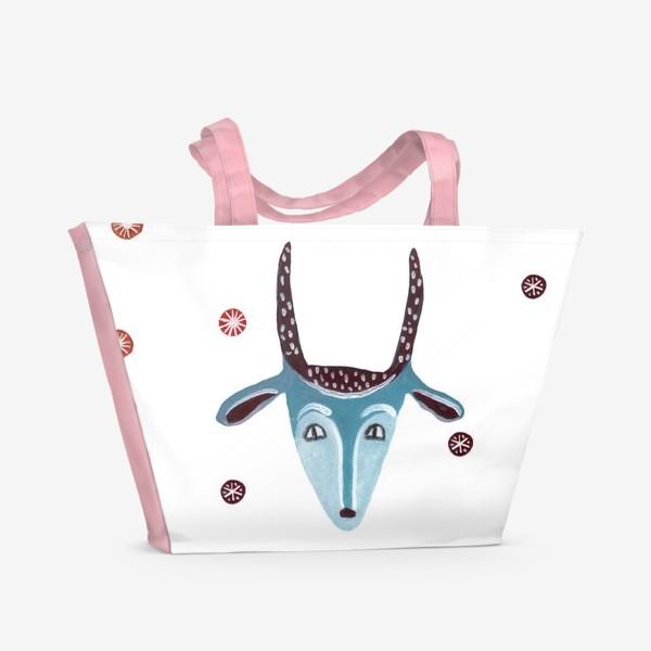 Пляжная сумка «Маска козы, снежинки и грибы»