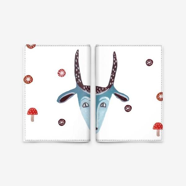 Обложка для паспорта «Маска козы, снежинки и грибы»