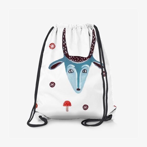 Рюкзак «Маска козы, снежинки и грибы»