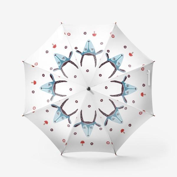 Зонт «Маска козы, снежинки и грибы»
