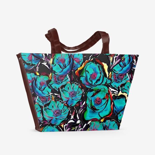 Пляжная сумка «Абстрактные бирюзово-розовые цветы на темном фоне. Яркий ботанический паттерн »