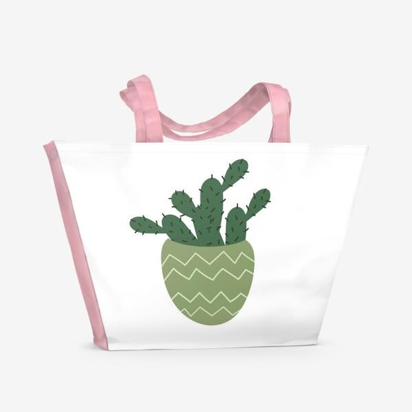 Пляжная сумка «Мексиканский кактус в модном горшке »