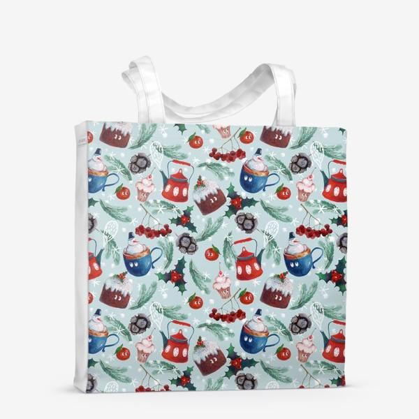 Сумка-шоппер «Новогодние сладости, чайник, пудинг, снеговик, ягоды, остролист, шишки, еловые ветки, мандарины»