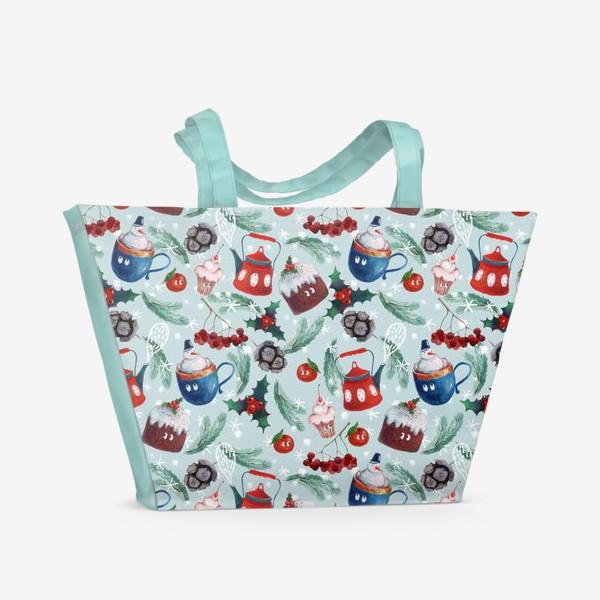 Пляжная сумка «Новогодние сладости, чайник, пудинг, снеговик, ягоды, остролист, шишки, еловые ветки, мандарины»
