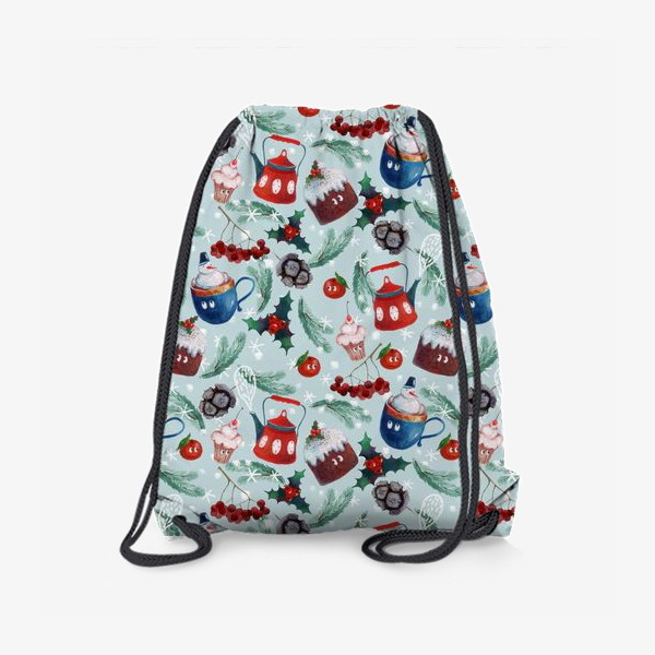 Рюкзак «Новогодние сладости, чайник, пудинг, снеговик, ягоды, остролист, шишки, еловые ветки, мандарины»