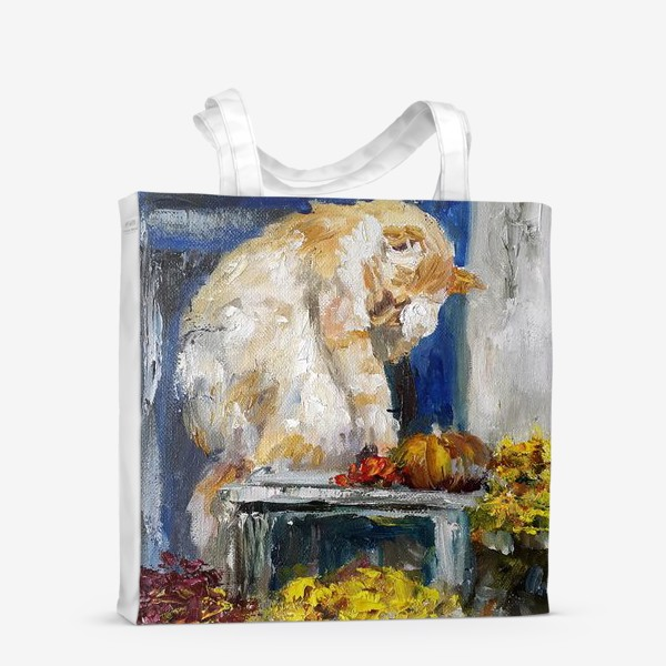 Сумка-шоппер «Осенняя. Рыжий кот и тыквы»