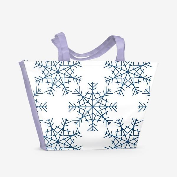 Пляжная сумка «Синие снежинки»