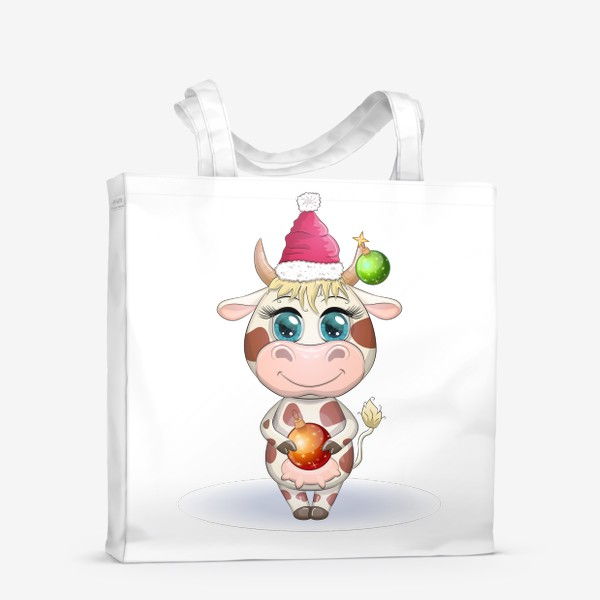 Сумка-шоппер «Бык, символ 2021 года, корова с шаром и в шапке Санта-Клауса»