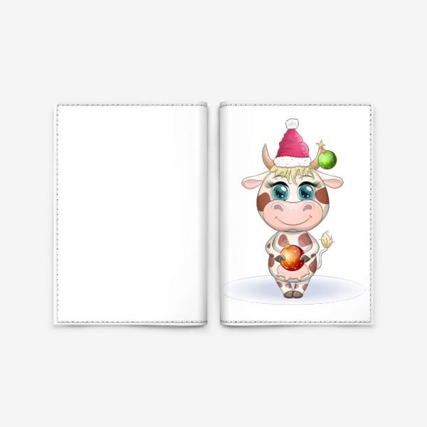 Обложка для паспорта «Бык, символ 2021 года, корова с шаром и в шапке Санта-Клауса»