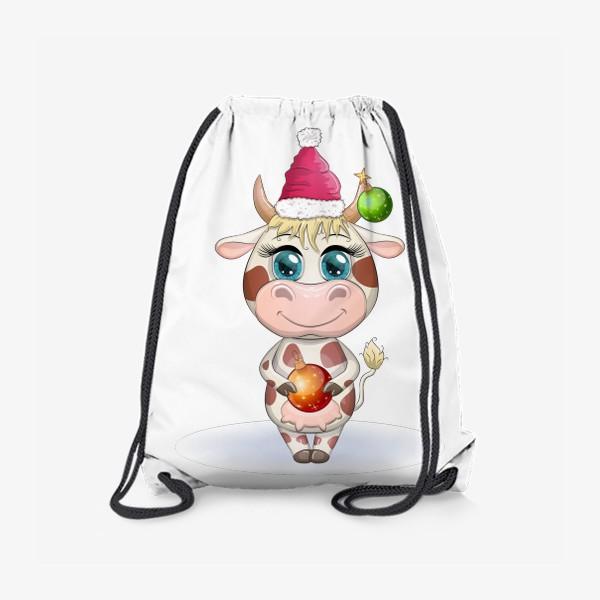 Рюкзак «Бык, символ 2021 года, корова с шаром и в шапке Санта-Клауса»