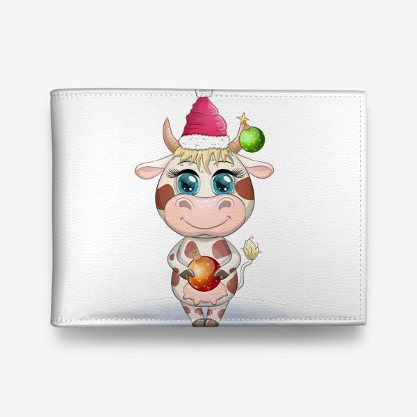 Кошелек «Бык, символ 2021 года, корова с шаром и в шапке Санта-Клауса»