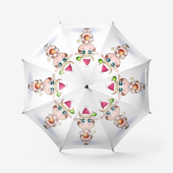 Зонт «Бык, символ 2021 года, корова с шаром и в шапке Санта-Клауса»