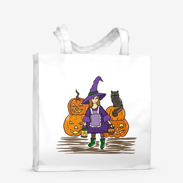 Сумка-шоппер «ведьмочка и тыквы»