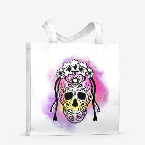 Сумка-шоппер «Череп с узорами в стилистике мексиканского дня мертвых»