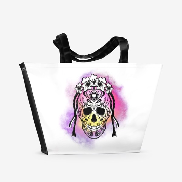 Пляжная сумка «Череп с узорами в стилистике мексиканского дня мертвых»
