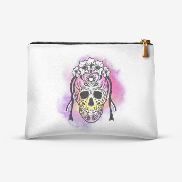 Косметичка «Череп с узорами в стилистике мексиканского дня мертвых»