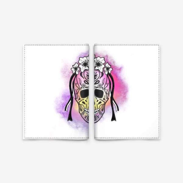 Обложка для паспорта «Череп с узорами в стилистике мексиканского дня мертвых»