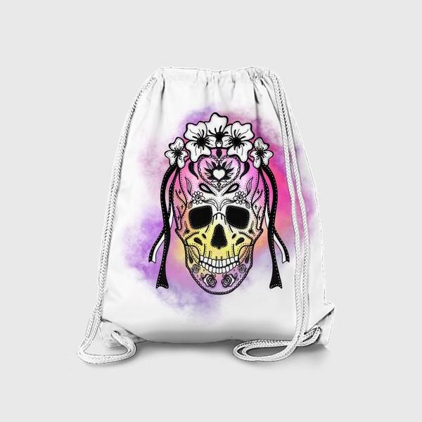 Рюкзак «Череп с узорами в стилистике мексиканского дня мертвых»