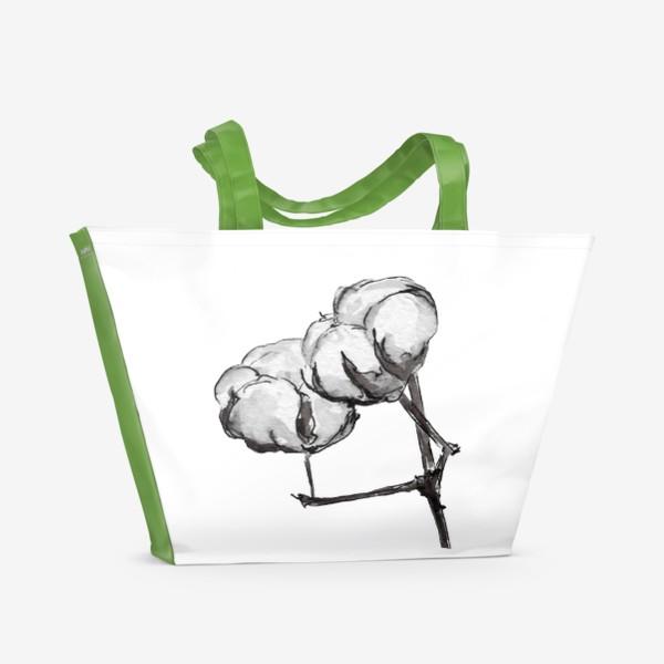 Пляжная сумка «Хлопок. Нежность в простом цветке.»