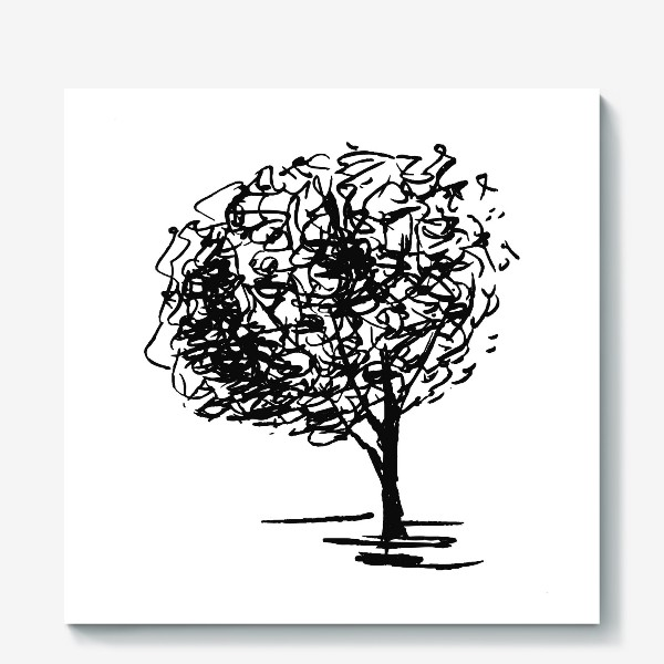 Холст «Дерево , чёрно-белый скетч»