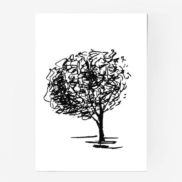 Постер «Дерево , чёрно-белый скетч»