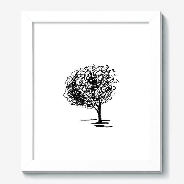 Картина «Дерево , чёрно-белый скетч»