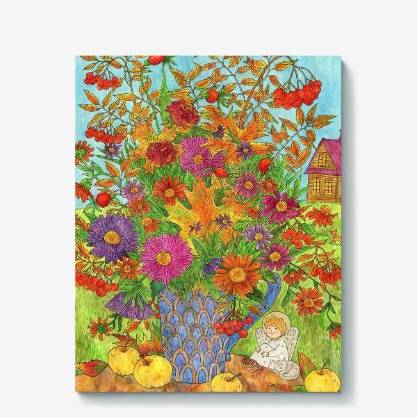 Холст «Букет осенних листьев, цветов и ягод и маленький добрый ангел»
