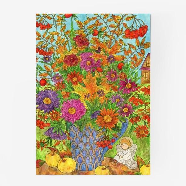 Постер «Букет осенних листьев, цветов и ягод и маленький добрый ангел»