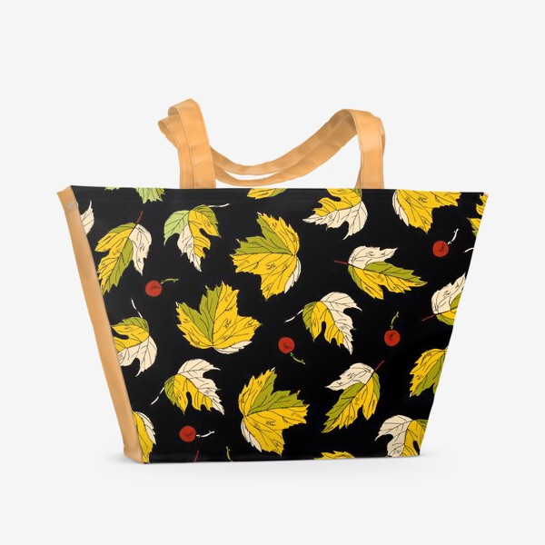 Пляжная сумка «жёлтые листья и ягоды»