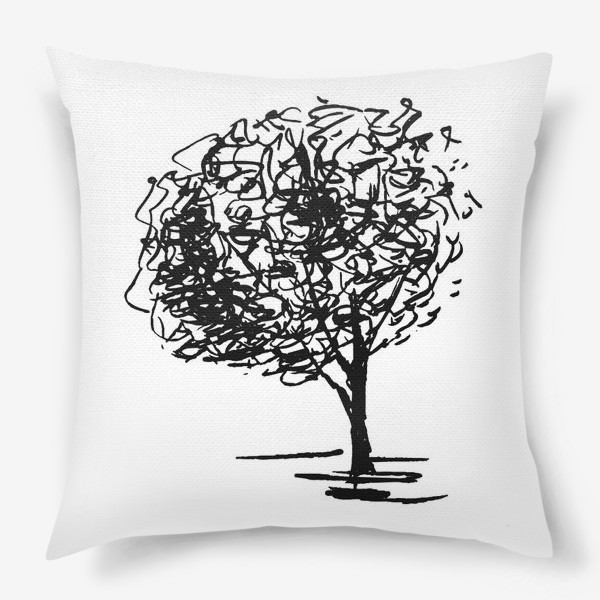 Подушка «Дерево , чёрно-белый скетч»